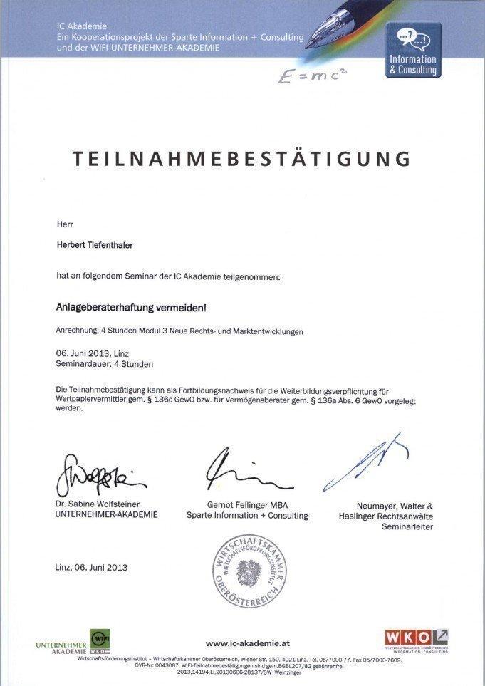 Teilnahmebestätigung Seminar Anlageberaterhaftung vermeiden, 6.6.2013, 4 Stunden